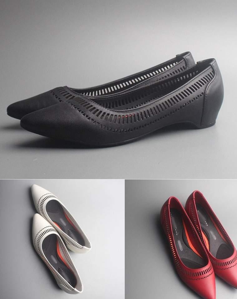 舒适白宫鞋    仅198元  美国老牌Rockport 乐步 纯色白宫系列  牛皮镂空浅口皮鞋  尖头女鞋