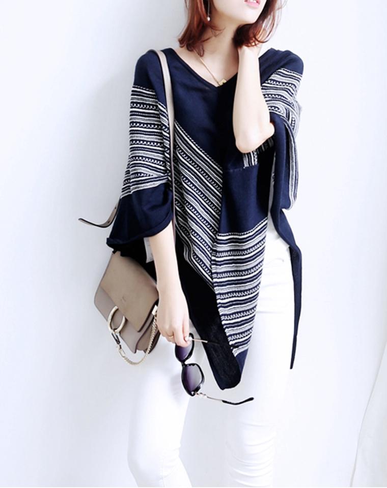 早秋凹造型   时尚不挑人  仅128元 意大利订单  高端成衣 时尚不规则条纹针织羊毛斗篷 披肩