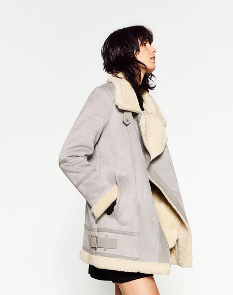 每年都要有的皮毛一体  仅249元  西班牙zara秋冬最新  百搭复古仿麂皮一体中长款机车服保暖外套  大衣