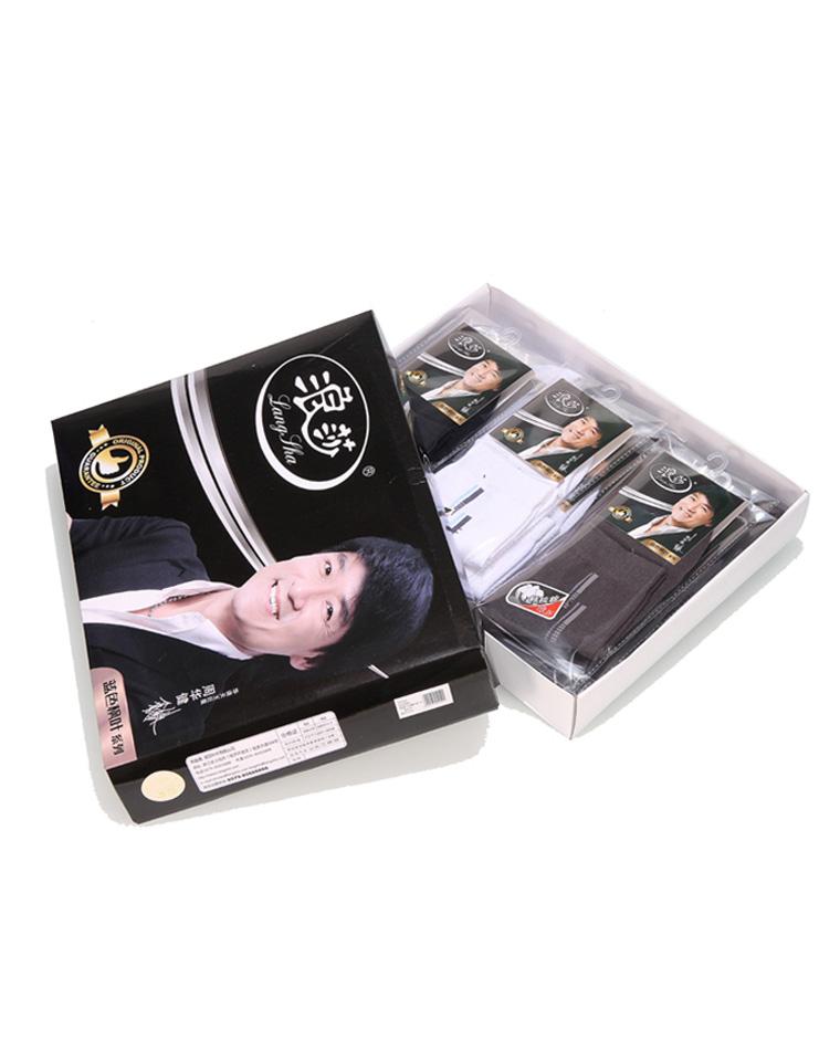 9块9包邮    浪莎一等品男士商务精梳棉绅士袜 礼盒装,单双有包装,12双一盒
