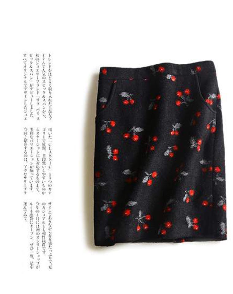 好货不等人 仅185元  羊毛绒  厚实保暖短裙  俏丽樱桃印花H型半身裙 秋冬气质毛呢裙