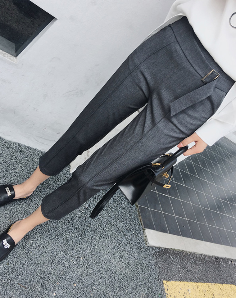 可穿三季好版型  仅95元   显腿型  知性扣环装饰 西装裤