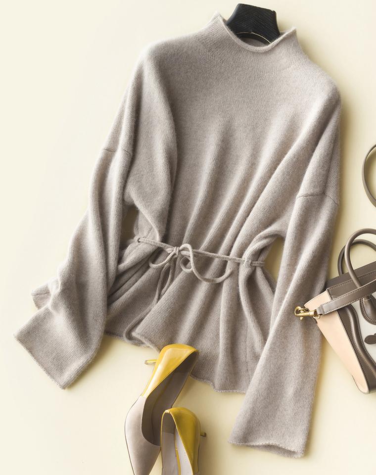 与世界温柔相处  仅225元   貂绒混纺  半高领抽绳系带装饰 自然卷边套头针织衫