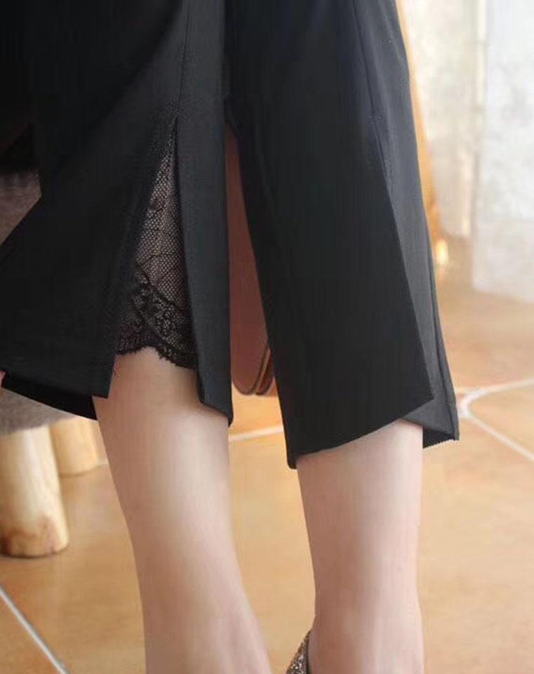 品质蕾丝微喇小黑裤  仅95元  超好品质  修腿型 弹力舒适不紧绷   松紧腰裤脚拼蕾丝 九分微喇裤