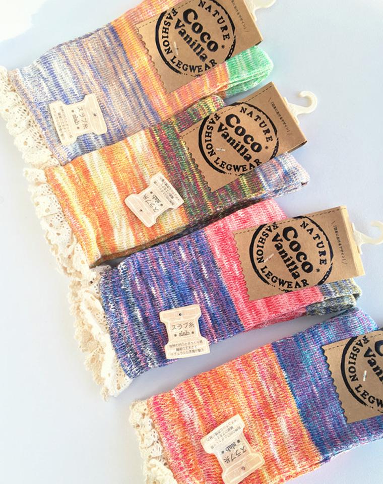 出口日单的彩线袜子 仅6.8元一双   超好品质 纯棉线 小蕾丝边 彩线袜