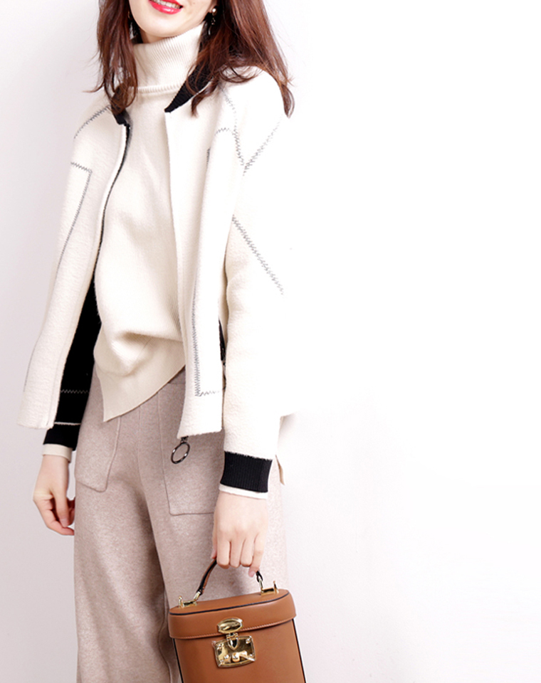 气质显瘦小香风  仅198元  颠覆性的设计  复古chic外套羊毛呢  小香风拼色短款羊毛夹克