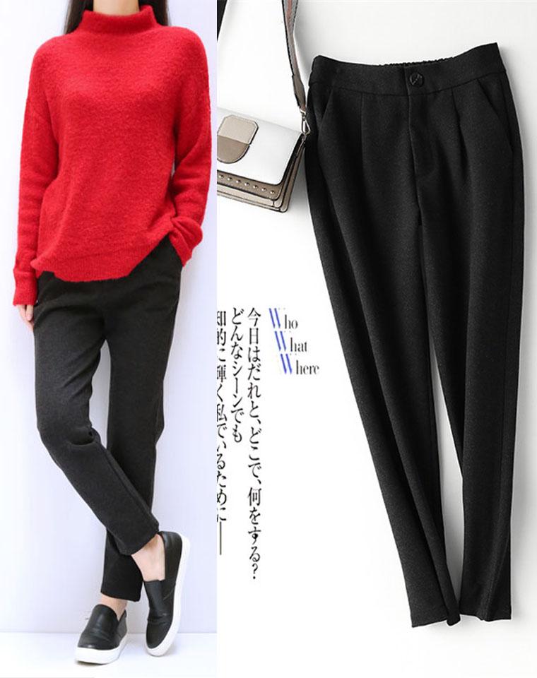 超好品质 时髦有型~ 仅95元  厚实保暖加绒磨毛西装裤  基础烟管裤女松紧腰高腰