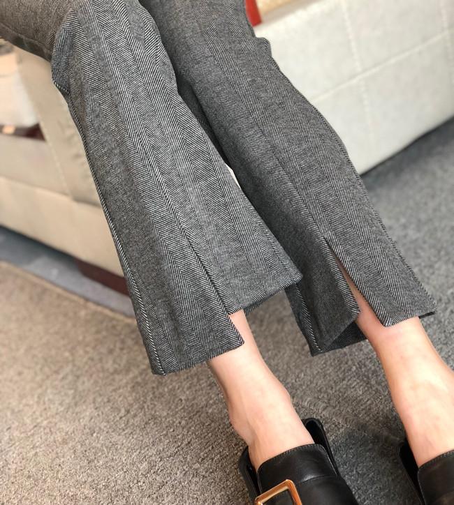 仅99元高端品质人字呢  羊毛微喇裤  仅118元   秋冬新款灰色羊毛微喇裤