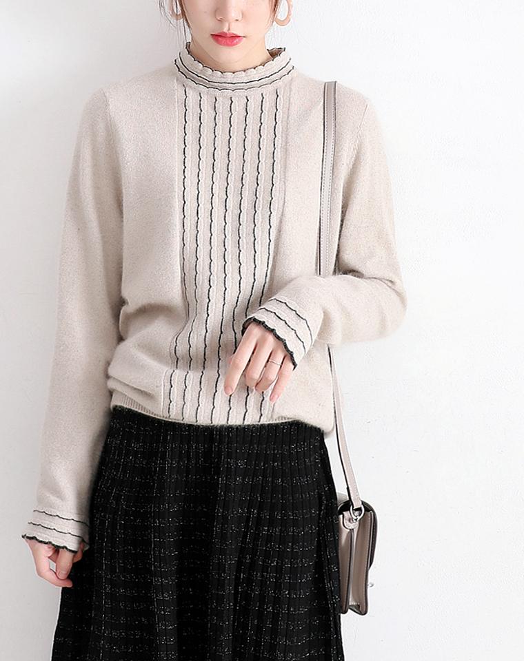 高阶日常 气质木耳边点缀  仅185元  优雅小半高领全羊毛针织衫 套头毛衣
