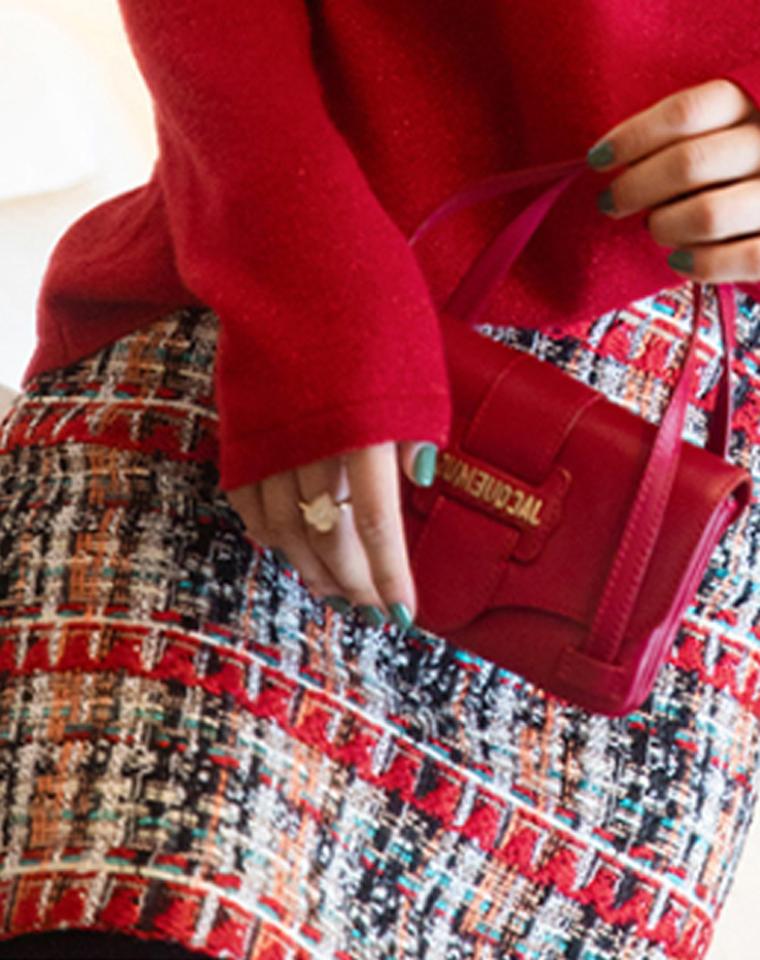 迎新  仅135元  品质优雅粗花呢  艳红小裙经典编织粗花呢格纹修身半裙