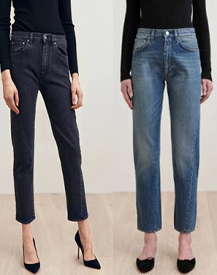 简单有腔调  仅128元!!瑞典小众toteme   复古扭缝设计 水洗色 不规则小直筒牛仔裤  宽松显瘦九分裤