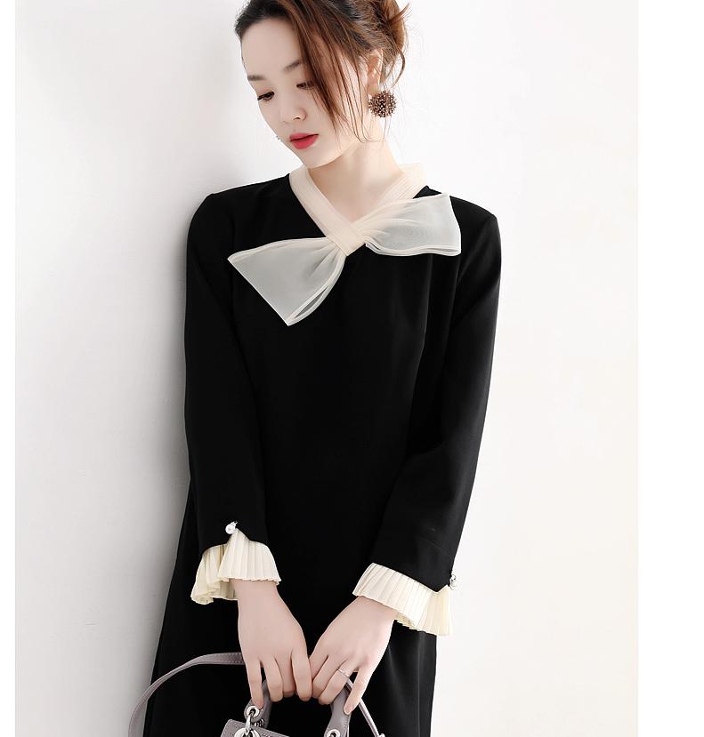 减龄感~仅185元   存在感撞色蝴蝶结装饰 风琴褶袖口黑色小A连衣裙