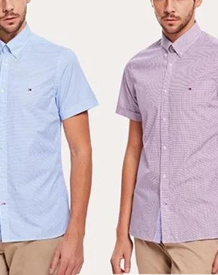9周年店庆硬货  仅128元  美国Tommy Hilighfer汤米纯正原单  19年夏款修身版型短袖衬衫 双色