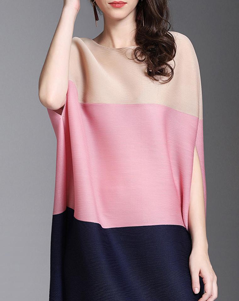 灵性之光   三宅褶皱拼接系列  仅128元   好衣品超显瘦  短袖拼色连衣裙