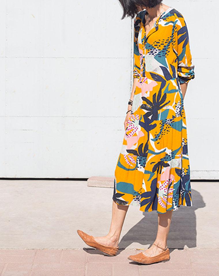 法式俏皮专柜119美刀  仅115元  美国Basement纯正原单    几何彩色印花 圆领衬衫式 防晒连身裙