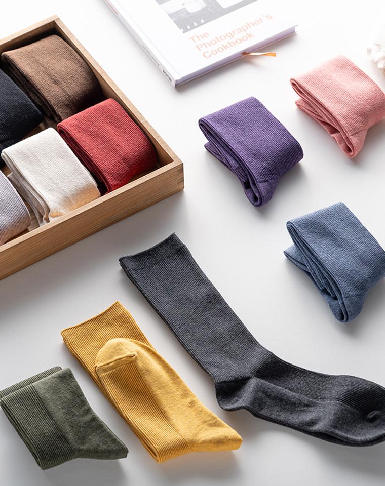 特惠!一家人都要有  仅14.8元  秋冬纯色色纺日系中筒袜  长绒棉羊毛混纺保暖堆堆袜