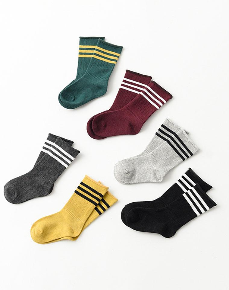 好袜子给孩子の  仅3.6元一双 精梳棉 儿童卷边中筒袜 男童女童条纹弹力堆堆袜 卷筒袜