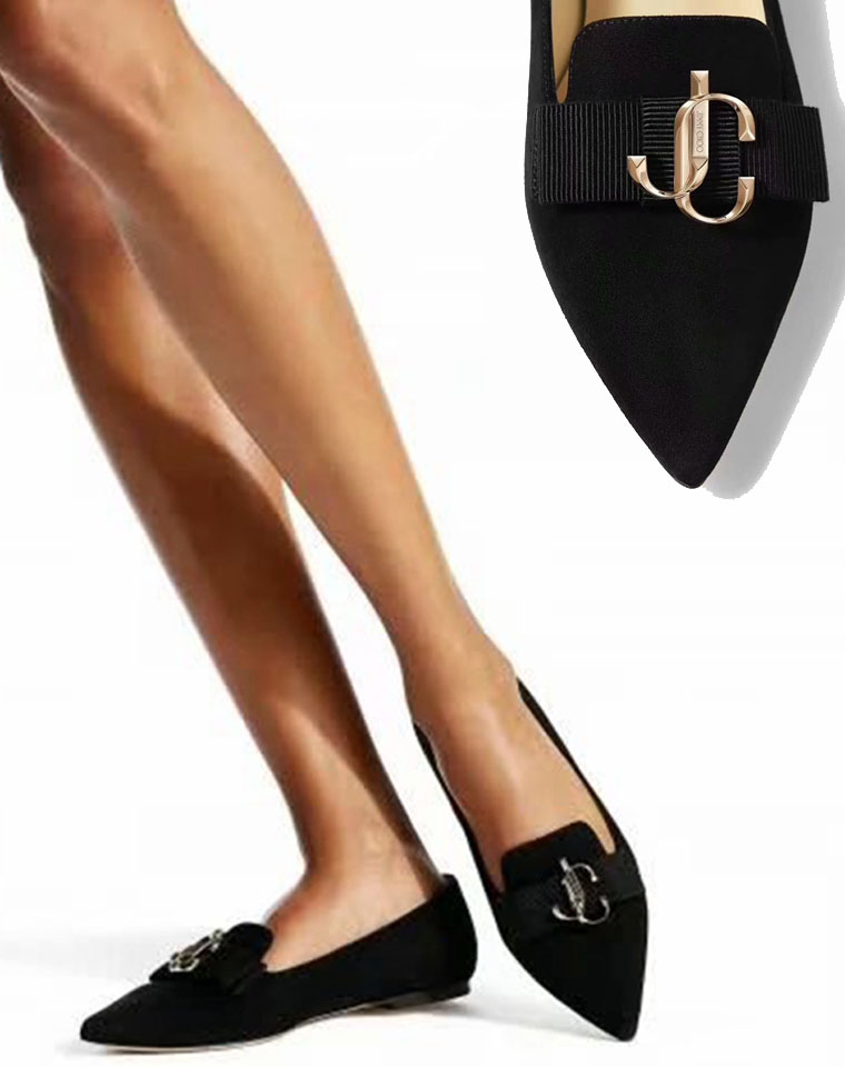 给优渥的孩儿妈  百搭显瘦!谁穿谁美! 仅328元  Jimmy Choo纯正原单 19秋 GALA系列 女款蝴蝶结麂皮尖头平底鞋