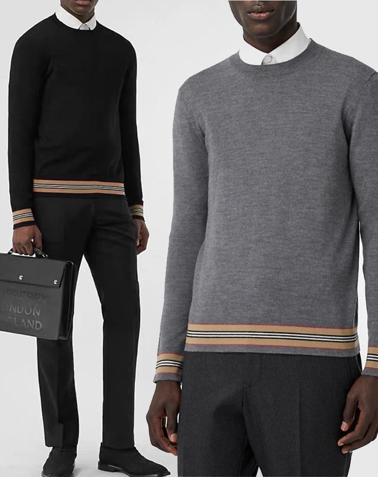 给纯爷们の  仅125元 英伦Burberry海外订单 纯正原单  品质精致型  pima棉 男士圆领针织衫