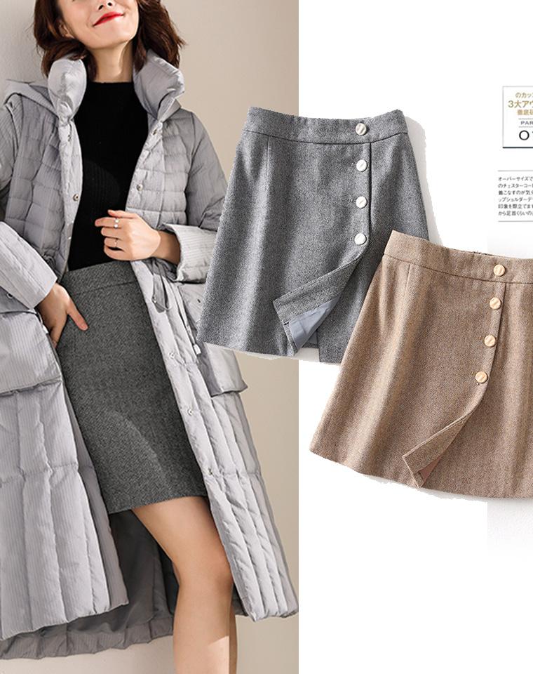 洋气人字纹  50%羊毛  仅85元  外贸订单  复古高腰人字纹 百搭人字纹羊毛呢半身裙