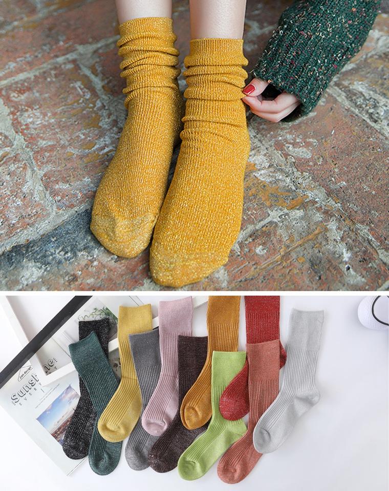 超美银线无骨袜!! 好穿的堆堆袜 百搭小能手 仅4.8元一双  女士精梳棉纯色堆堆袜 保暖弹力中筒袜
