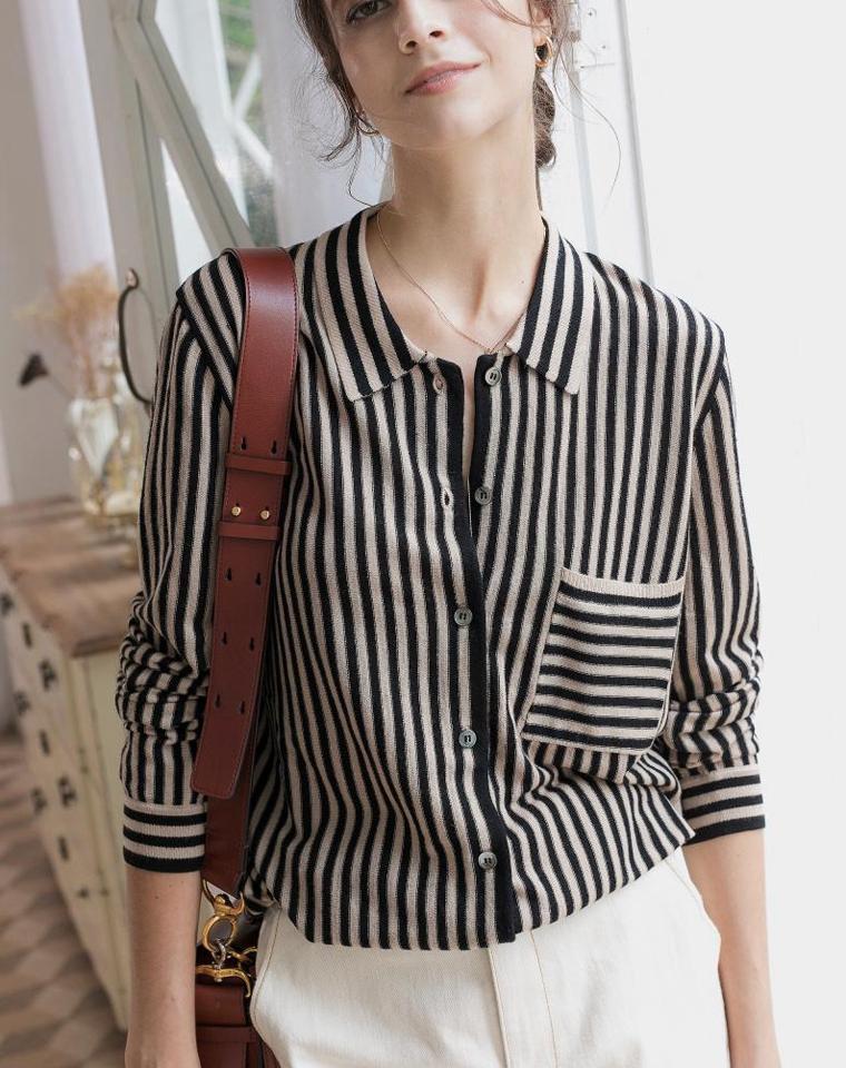 引导时尚元素风向标 撑场子好物  仅198元  100%澳洲羊毛 显瘦洋气衬衫式针织衫