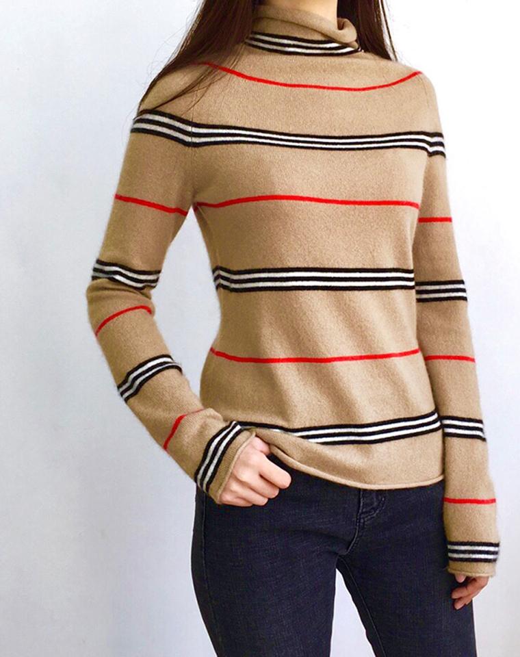 双12特供尖儿货  美呆掉!50%羊绒!高端好货 仅248元  细条纹半高领  高辨识条纹羊绒衫