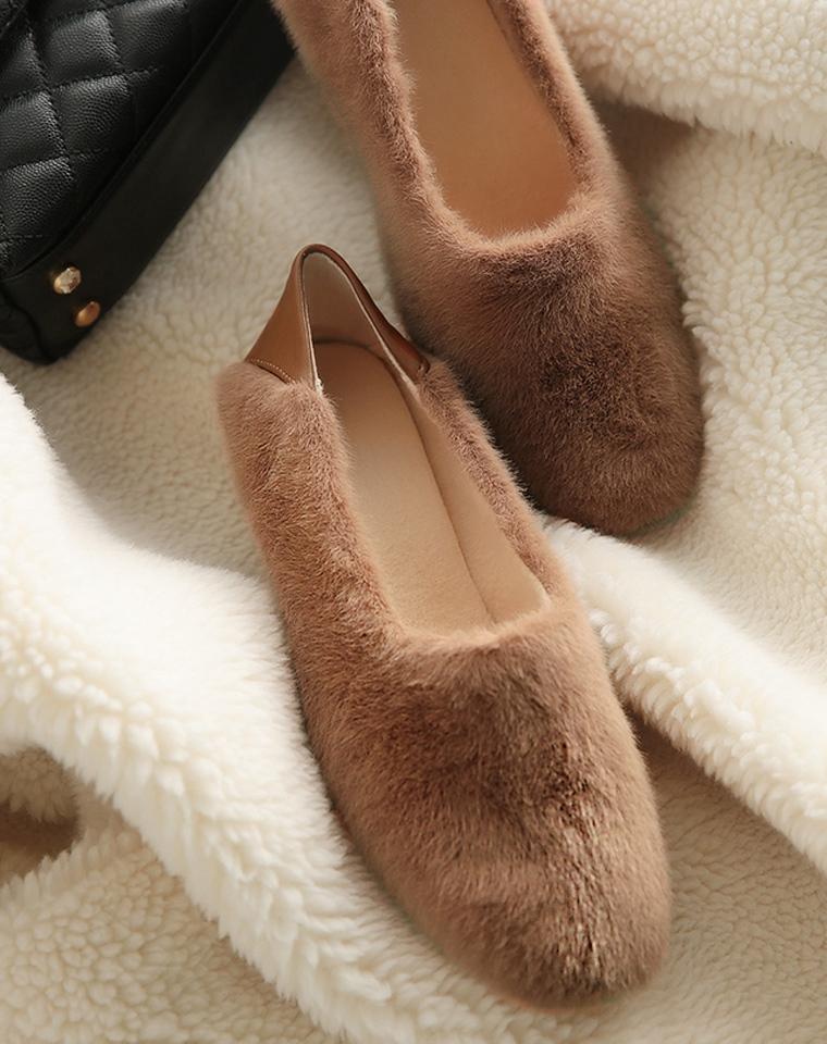 仅159元 期待已久  仅169元  貂绒混纺顺滑质感奶奶鞋秋冬加绒一脚蹬懒人 毛毛鞋