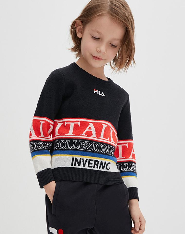 亲妈必收  仅89元  FILA纯正原单 男女童 套头毛衣