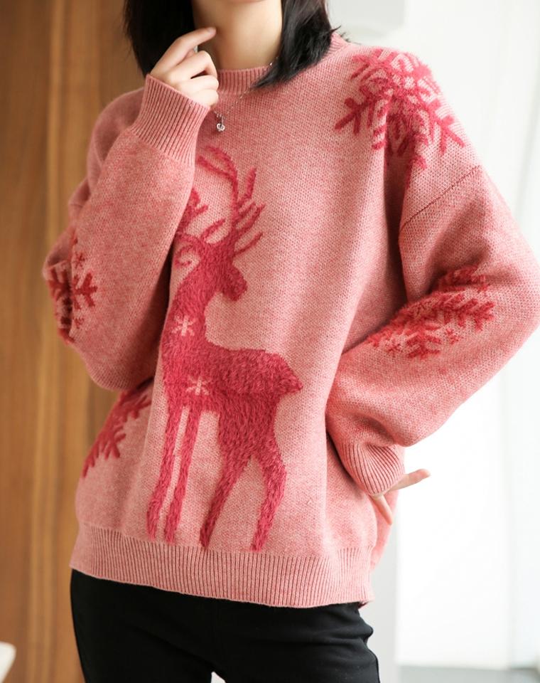 超萌!超软!超减龄~仅158元  麋鹿  樱桃  拉毛 宽松显瘦落肩袖圆领针织套头毛衣