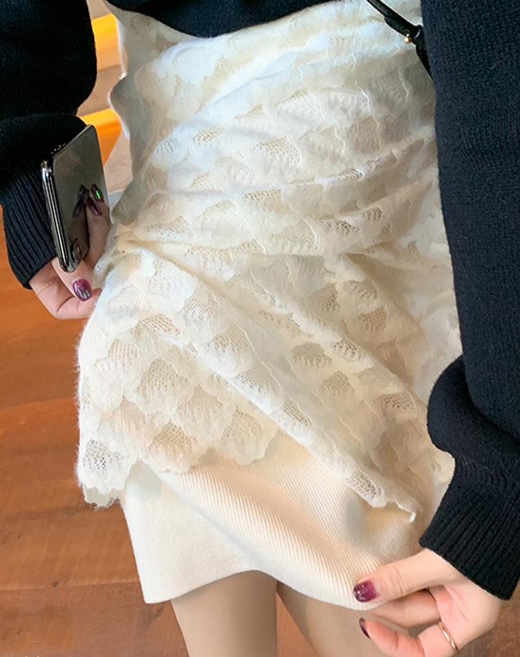 美人鱼!!还可两面穿!美炸了网纱羊毛针织裙   仅98元 两面可穿!气质温柔!高阶仙!优雅提花蕾丝+针织!松紧高腰半裙