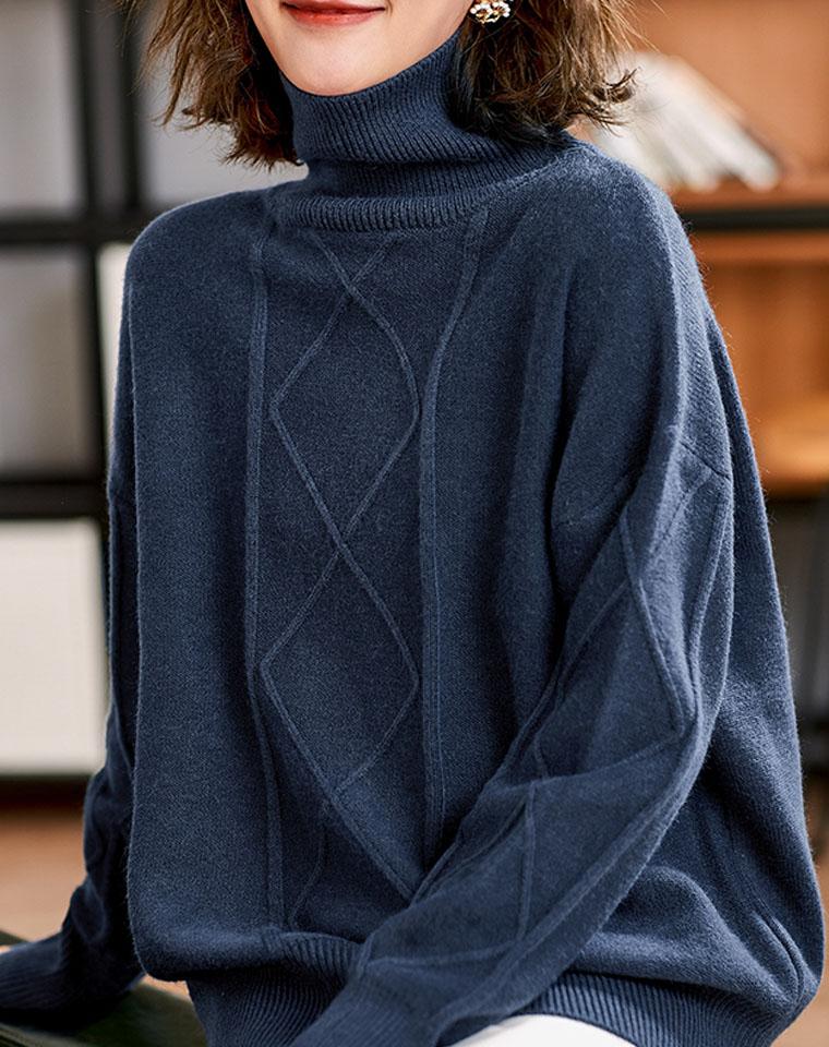 有腔调 !不起球! 菱格高领毛衣 仅118元  慵懒复古 高克重羊毛 厚实高领绞花毛衣