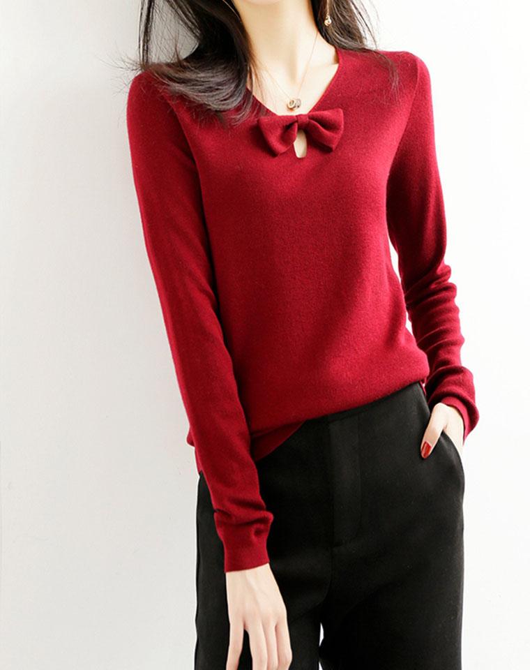 魔力显瘦  知性精致  仅168元   羊毛毛衣女 新款V领蝴蝶结显瘦针织衫外穿打底衫