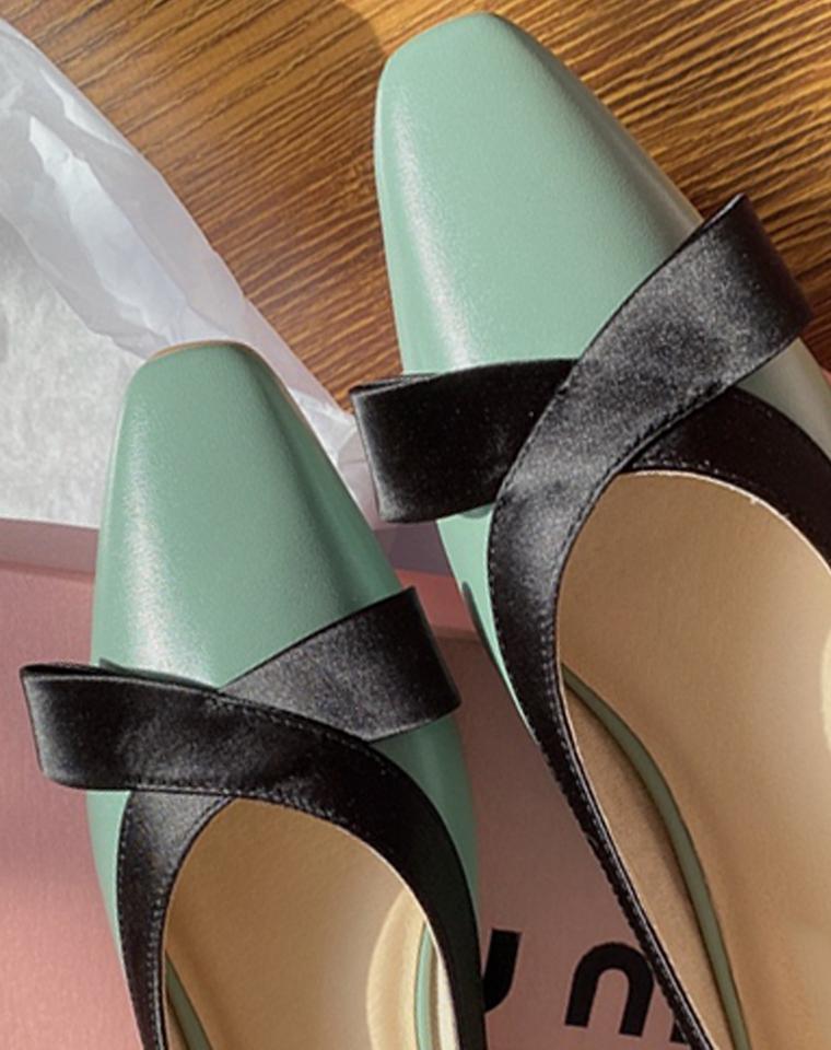 软软的小羊皮鞋  超美好V口特别显脚瘦  仅268元   MIU家2020早春新款 真皮浅口真丝蝴蝶结 奶奶鞋
