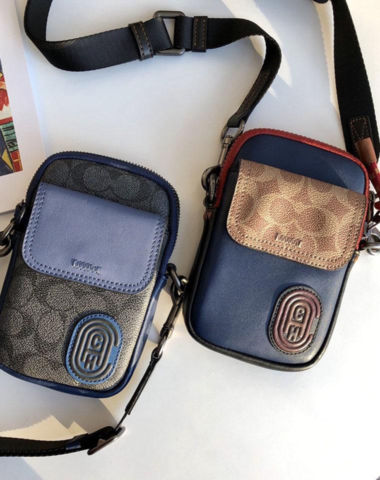 3月最新款!!男女款手机包  仅195元 Coach蔻驰纯正原单 涂层帆布拼色手机包 小斜跨