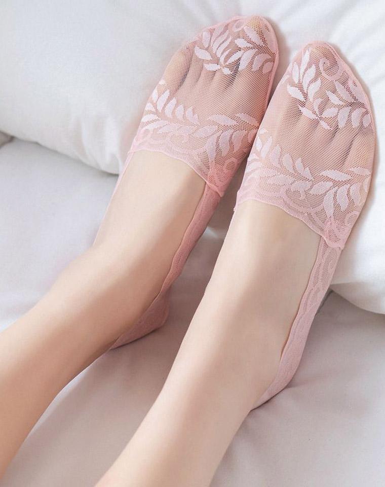 防滑防掉跟  仅5.8元    夏新立体薄小树叶蕾丝隐形船袜 精梳棉浅口女袜子