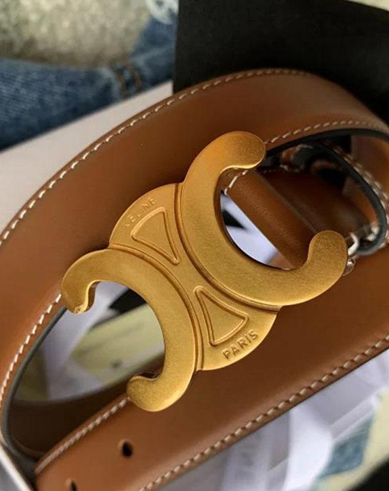 高级小众 巨好看!仅198元  法国CELINE纯正原单  凯旋门做旧复古腰带 皮带2色!3个尺寸!纯纯小牛皮!