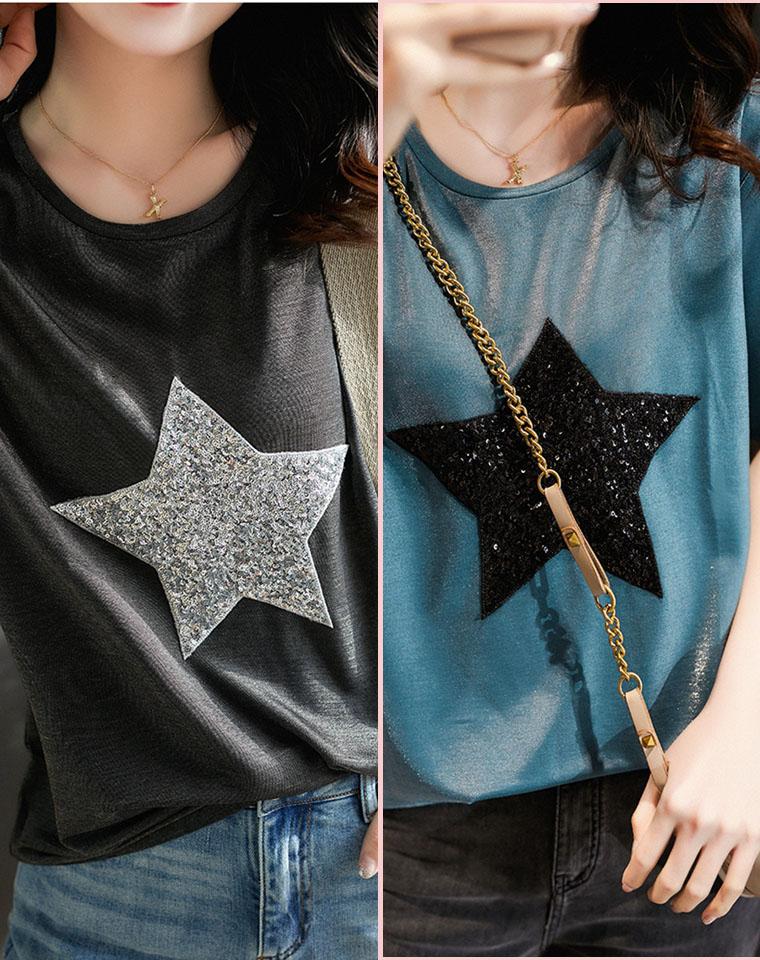 来着星星的你  穿搭C位!!仅95元  重工珠片五角星亮丝短袖T恤