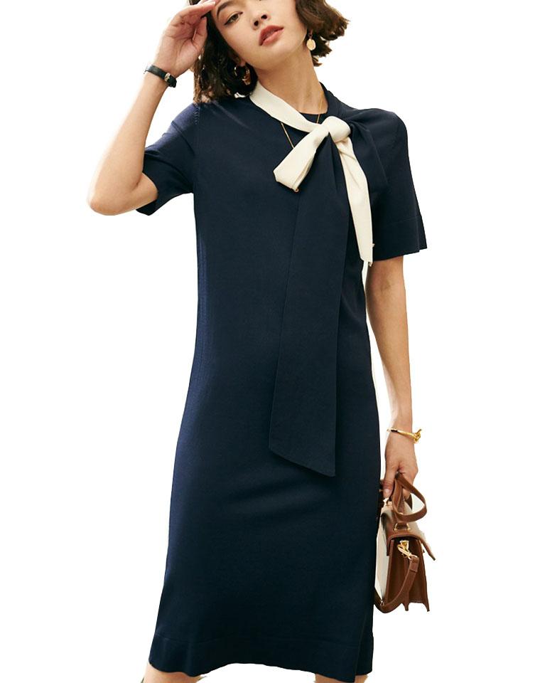 通勤最好穿的One piece  仅158元  美国红牌Tory Burch纯正原单  超好看 弹力薄款 曲珠针织 撞色系带领 显瘦短袖连衣裙