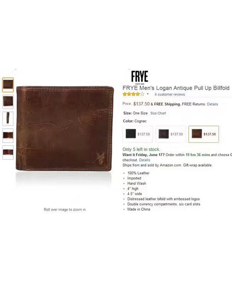 给纯爷们的真皮钱包! 正儿八经的好货 仅168元 Frye弗莱纯正原单  油腊皮短款钱包
