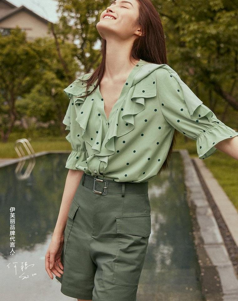 超美抹茶绿  遮肉显瘦  仅79元单件 仅149元两件套装 波点抹茶绿雪纺短袖  高腰短裤可自行搭配套装