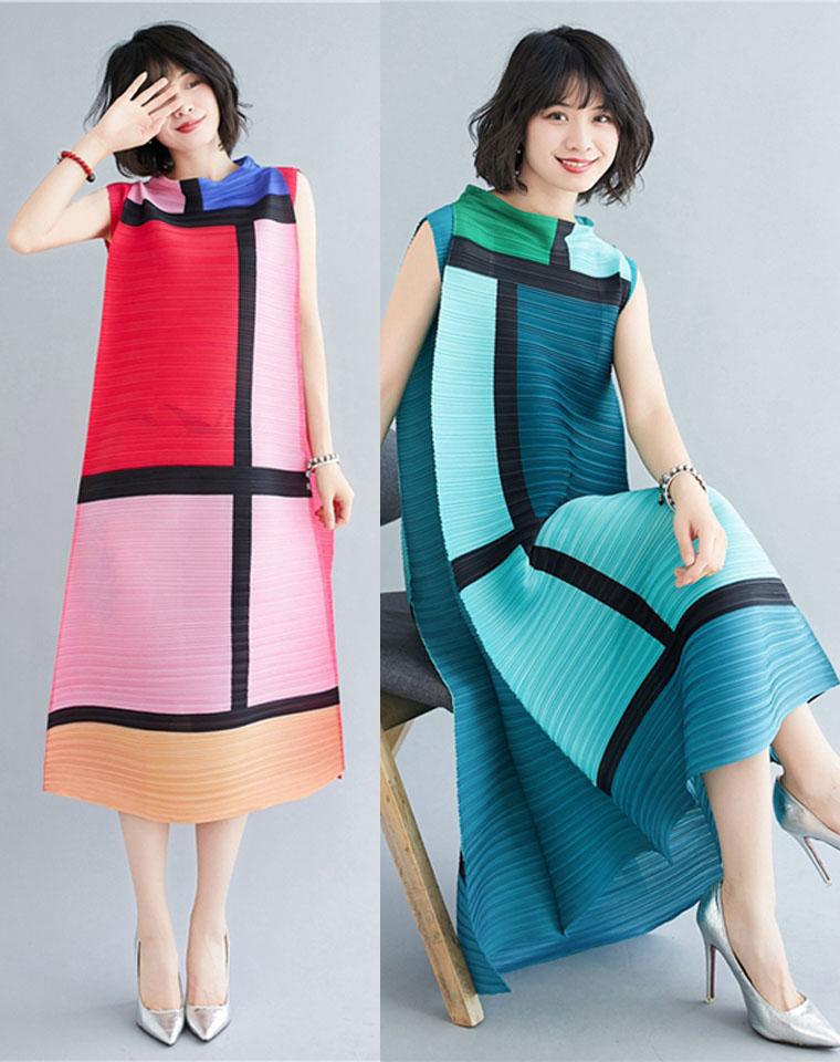 凉爽透气 仅198元 三宅褶皱新款夏  超洋气显瘦显高 大色块长裙 气质减龄高端连衣裙