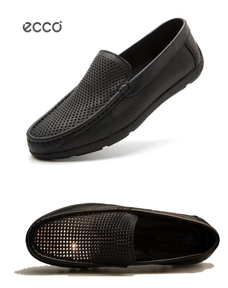 给纯爷们的好货!!!男士也有蛋卷鞋! ECCO爱步  仅198元 2020夏季最新  男款软面牛皮  网眼商务休闲鞋 透气蛋卷鞋 凉鞋