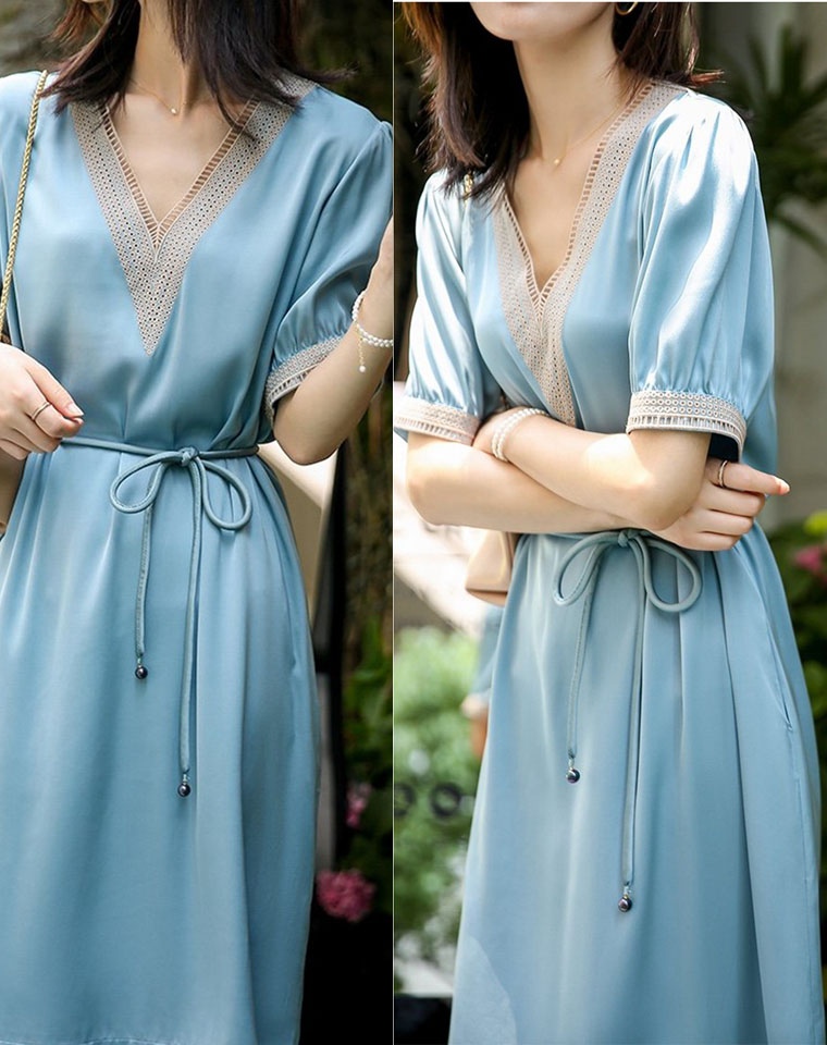 重磅真丝   优雅气质 V领镂空绣花 仅168元   系带收腰显瘦 净色桑蚕丝连衣裙