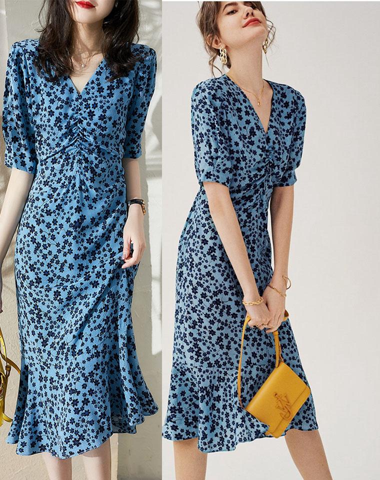 浪漫南法夏风  唯美 仅148元  经典蓝茶歇裙乔其色织 连衣裙