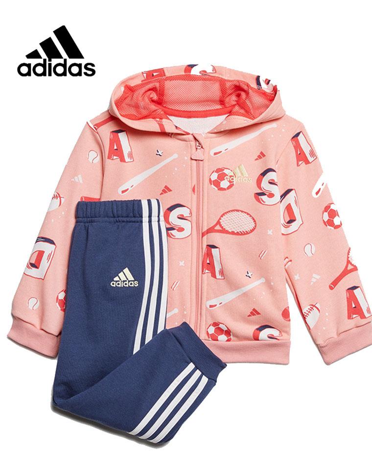 亲妈必收 仅95元量少一批    Adidas阿迪达斯  最新男女童 20最新满印  连帽纯棉毛圈卫衣卫裤套装