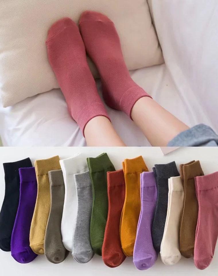 超级好穿!日系风中筒女士袜透气纯色 仅3.8元  弹力针织棉袜子  春秋新款