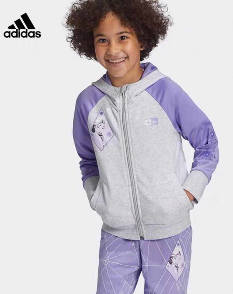 女娃最爱的冰雪奇缘  最简单最洋气  仅98元  Adidas阿迪达斯  最新女童  Disney联名系列 内里毛圈 拉链帽衫 卫裤套装