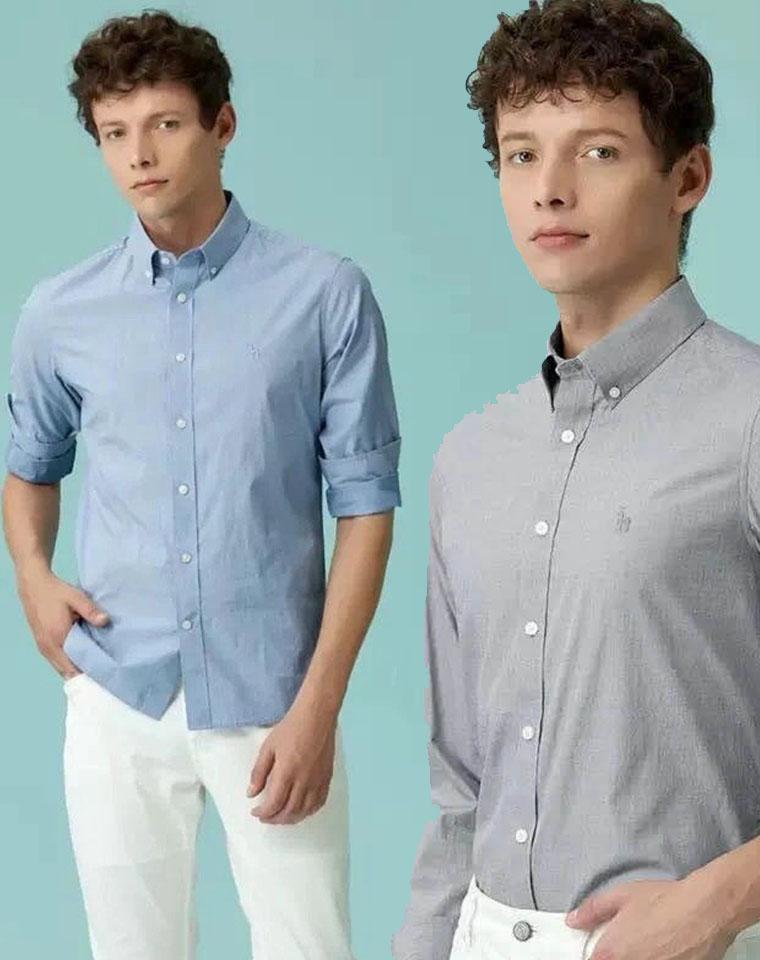 给纯爷们の硬货  仅138元  HAZZYS哈吉斯 纯正原单秋款纯色修身版型长袖商务衬衫