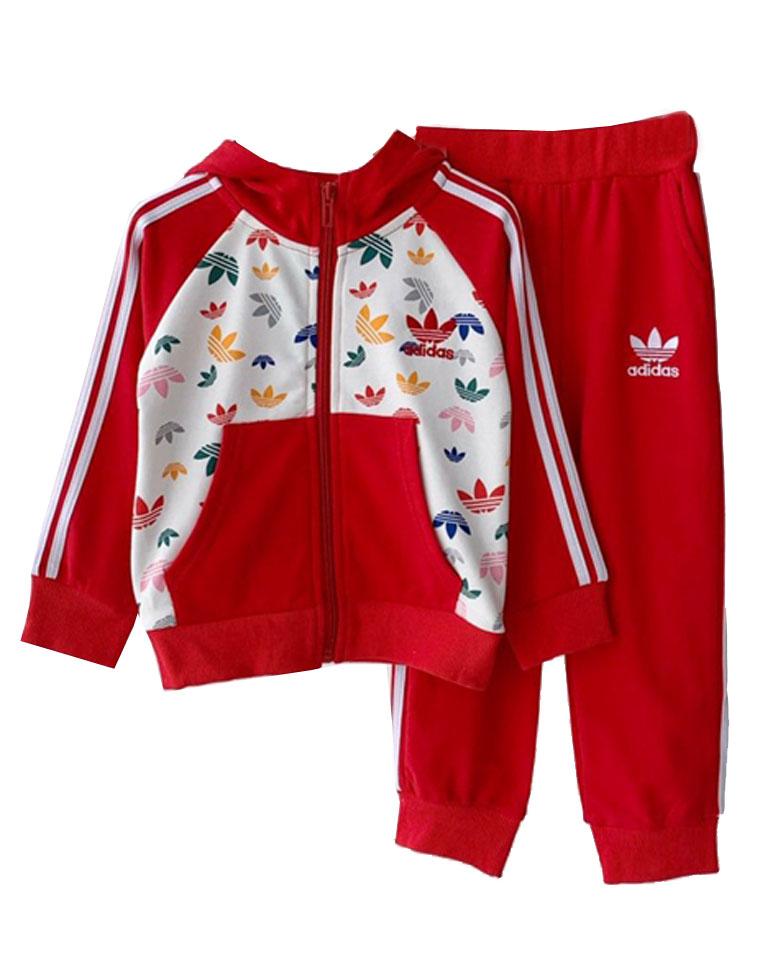 亲妈必收 仅92元量少一批    Adidas阿迪达斯  最新男女童 20最新满印  连帽纯棉毛圈卫衣卫裤套装